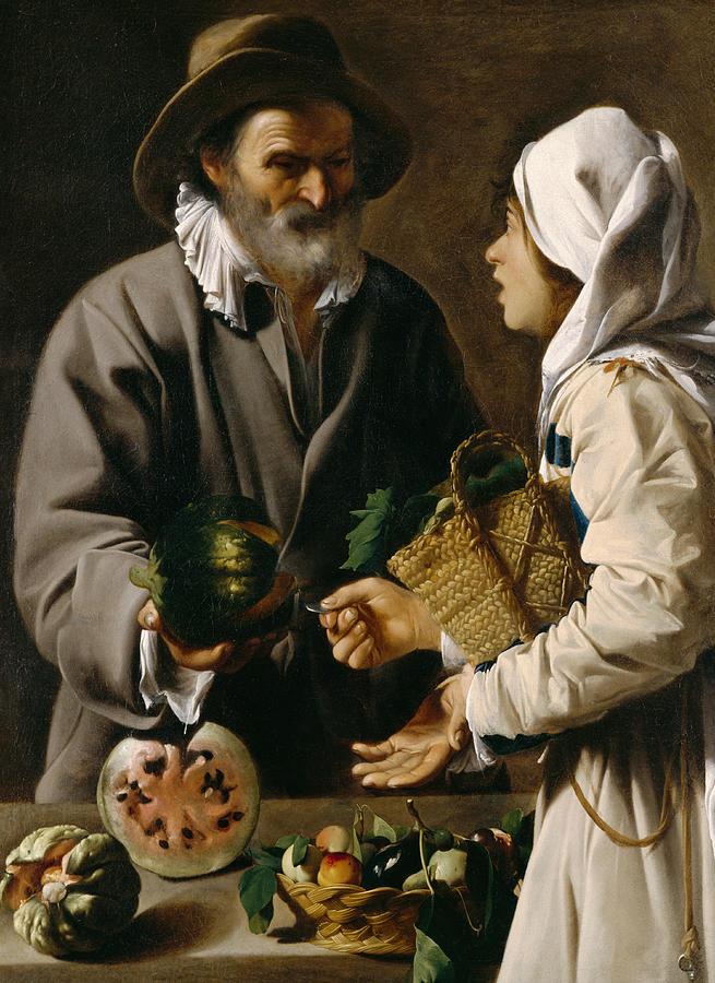 The Fruit Vendor Painting - The Fruit Vendor by Pensionante de Saraceni