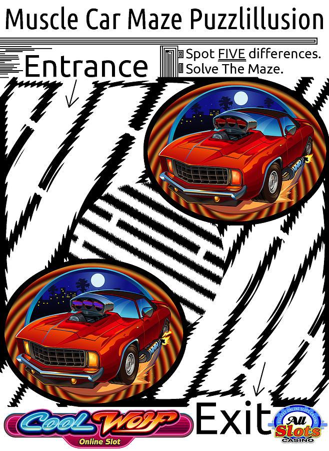 The Funny Muscle Car Maze Digital Art By Yanito Freminoshi