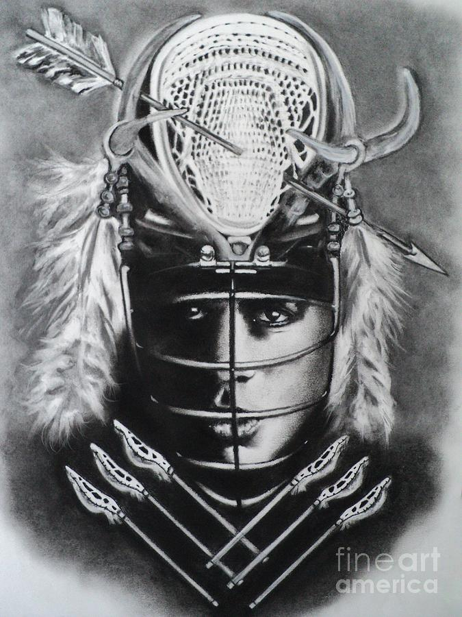 Native American Drawing - The Game Of Lacrosse  by Carla Carson