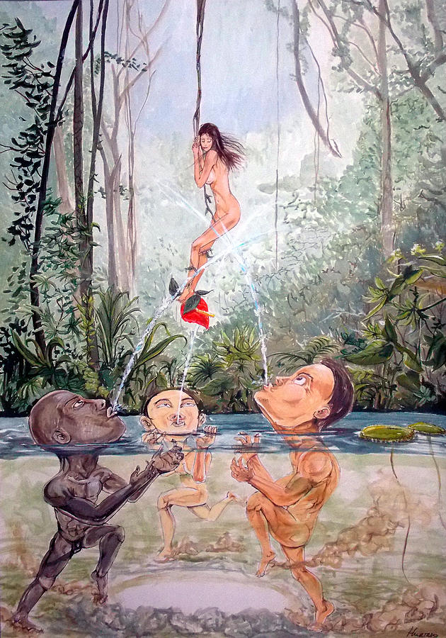 Surrealist Painting - The Game Of The River by Lazaro Hurtado
