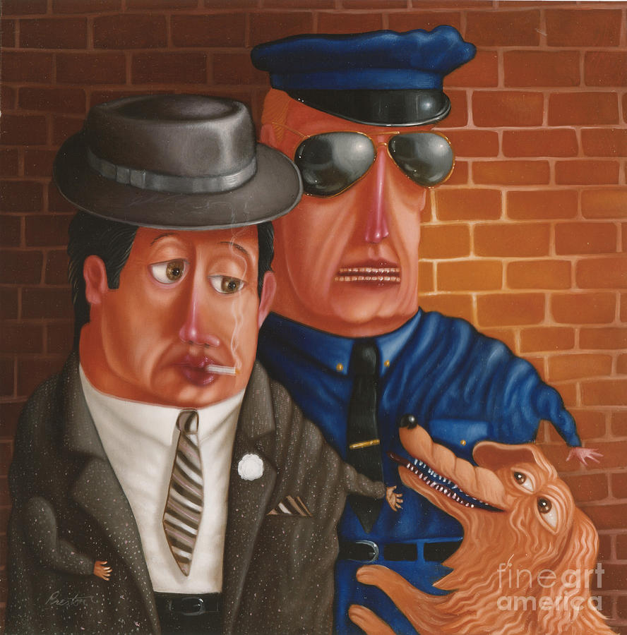 Gangster Painting - The Gangster The Cop And The Dog 1997 by Lawrence Preston