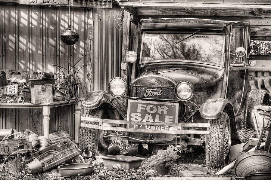 The Garage Sale Photograph - The Garage Sale Black And White by JC Findley