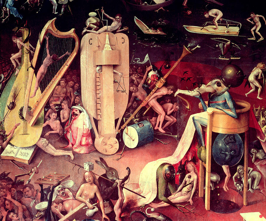 The Garden Of Earthly Delights Hell, Detail From The Right Wing Of The  Triptych, C.1500 Oil