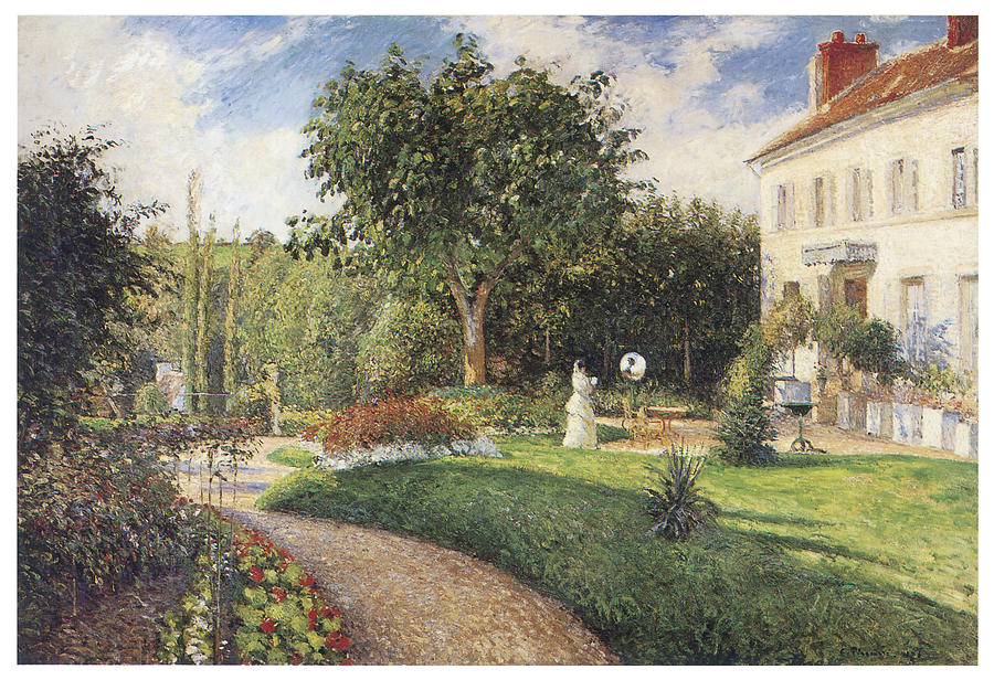 The Garden Of Les Mathurins At Pontoise Painting By