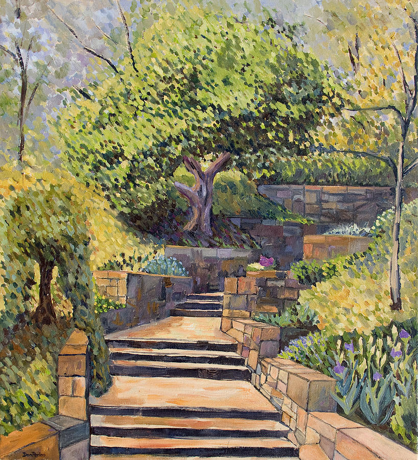 Impressionism Painting - The Garden Stairs by Don Perino