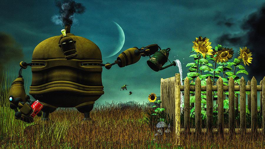 Robot Digital Art   The Gardener By Bob Orsillo