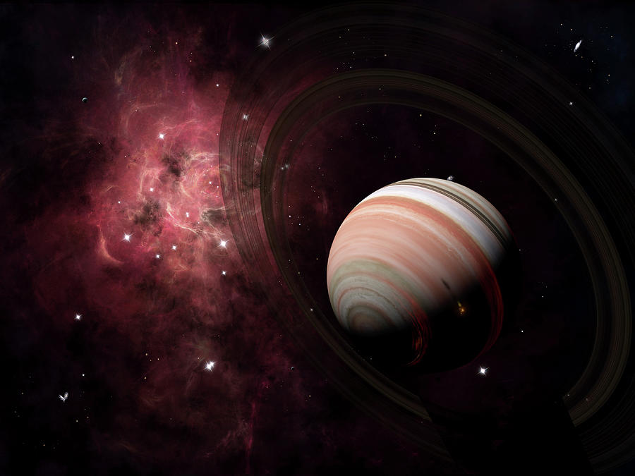 The Gas Giant Carter Orbited By Its Two Digital Art by Brian Christensen/stocktrek Images