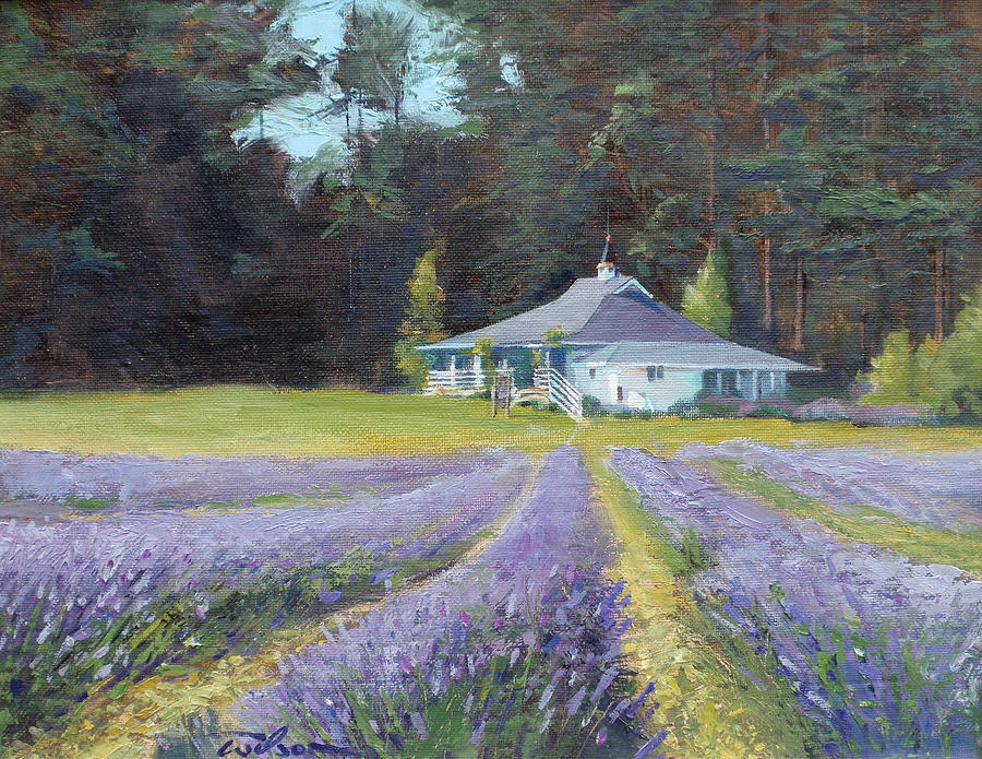 Gatehouse Painting - The Gatehouse Store Lavender Farm by Ron Wilson