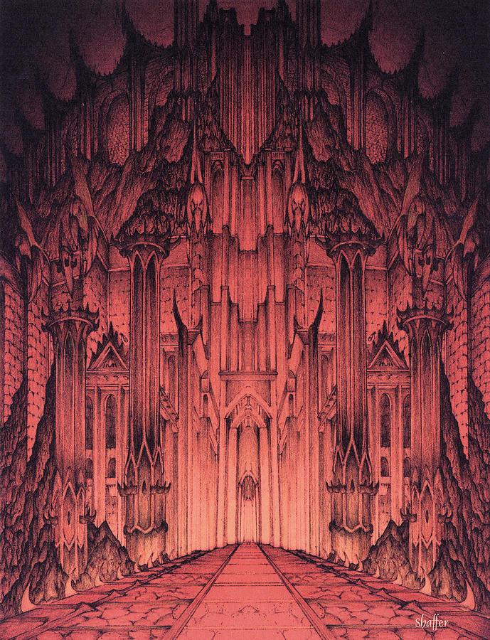Barad Dur Mixed Media - The Gates Of Barad Dur by Curtiss Shaffer