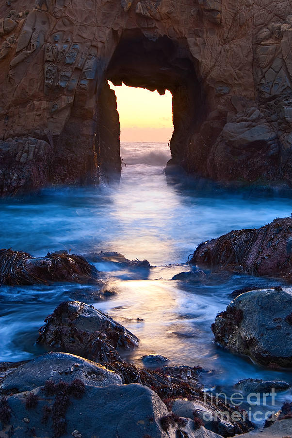 Arch Rock Photograph - The Gateway - Sunset On Arch Rock In Pfeiffer Beach Big Sur In California. by Jamie Pham