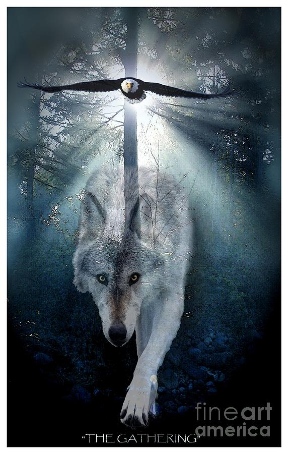 Wolf Digital Art - The Gathering by Skye Ryan-Evans