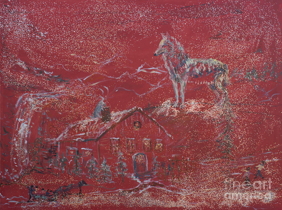 Red Painting - Wolves At The Door by Avonelle Kelsey