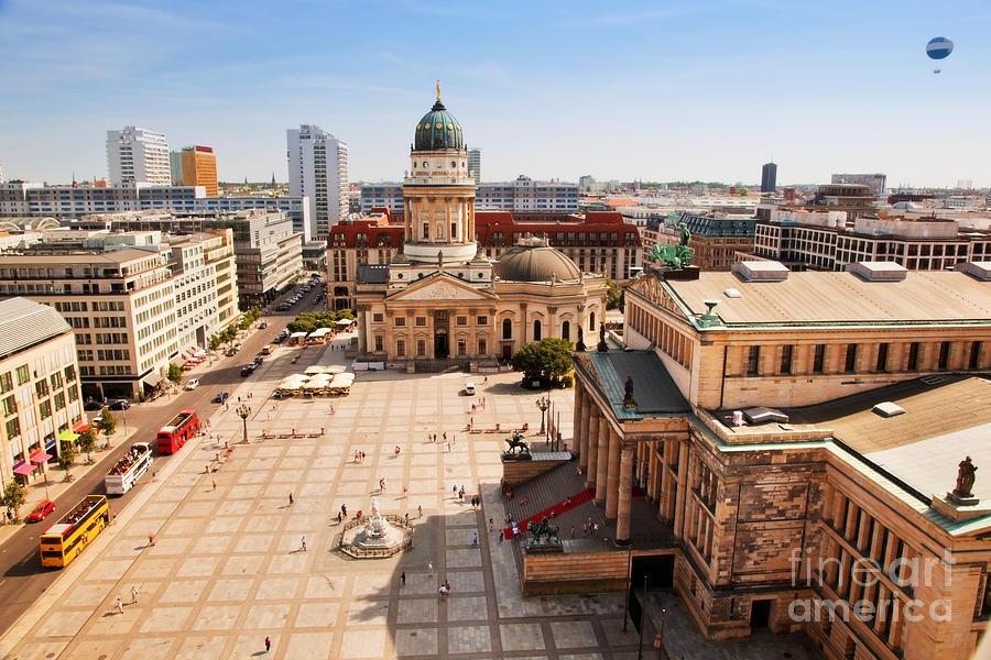 Gendarmenmarkt Photograph - The Gendarmenmarkt And German Cathedral In Berlin by Michal Bednarek