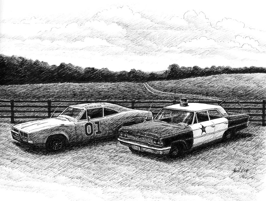 The General Lee Drawing - The General Lee And Barney Fifes Police Car by Janet King