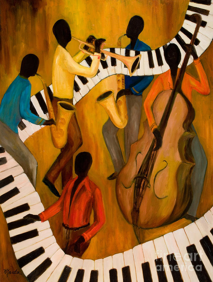 Jazz Painting - The Get-down Jazz Quintet by Larry Martin