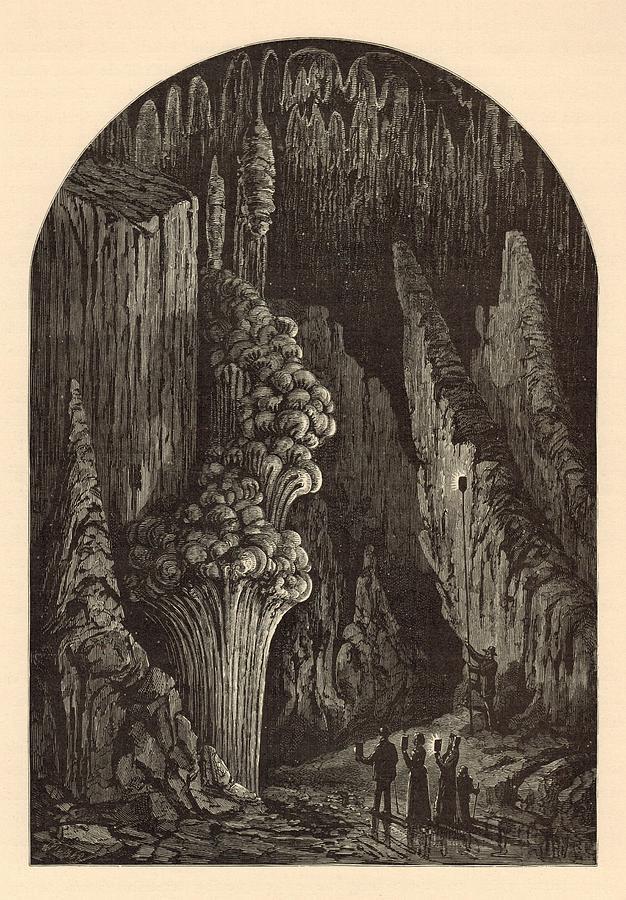 Geyser Painting - The Geyser 1872 Engraving by Antique Engravings