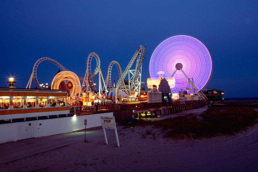 Amusement Park Photograph - The Giant Wheel At Night  by George Oze