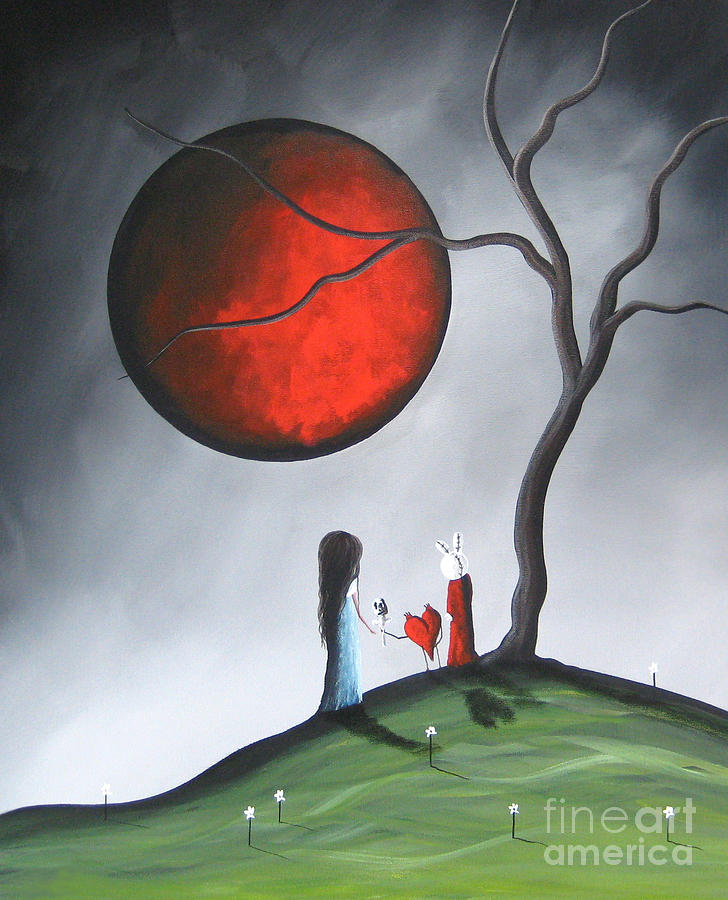 Red Moon Painting - The Gift By Shawna Erback by Shawna Erback