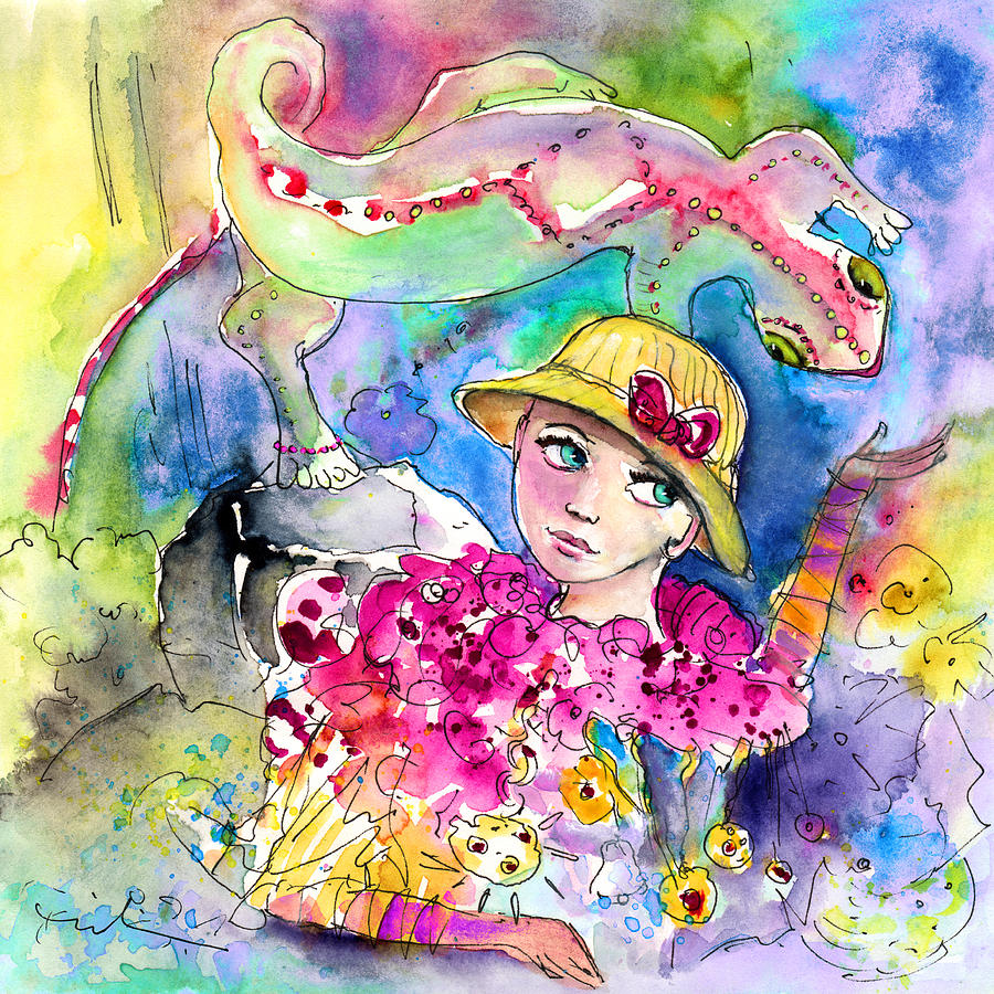 Travel Painting - The Girl And The Lizard by Miki De Goodaboom