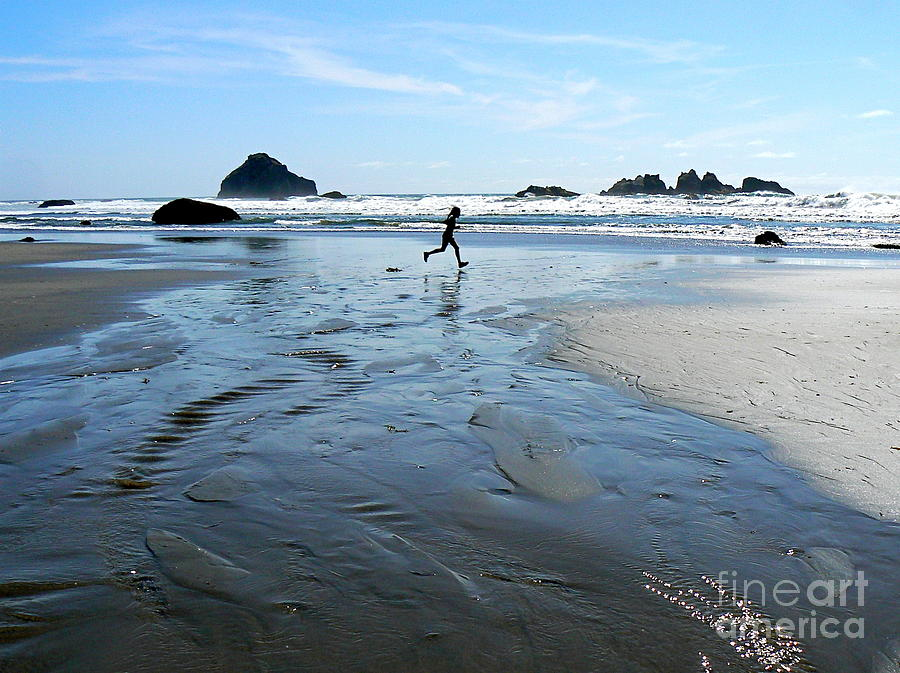 Pacific Photograph - the Girl and the Ocean by Dona  Dugay