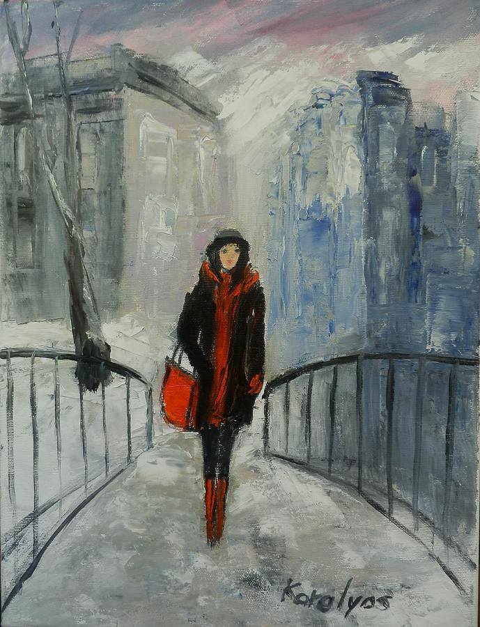 Abstract Painting - The Girl In Black by Maria Karalyos