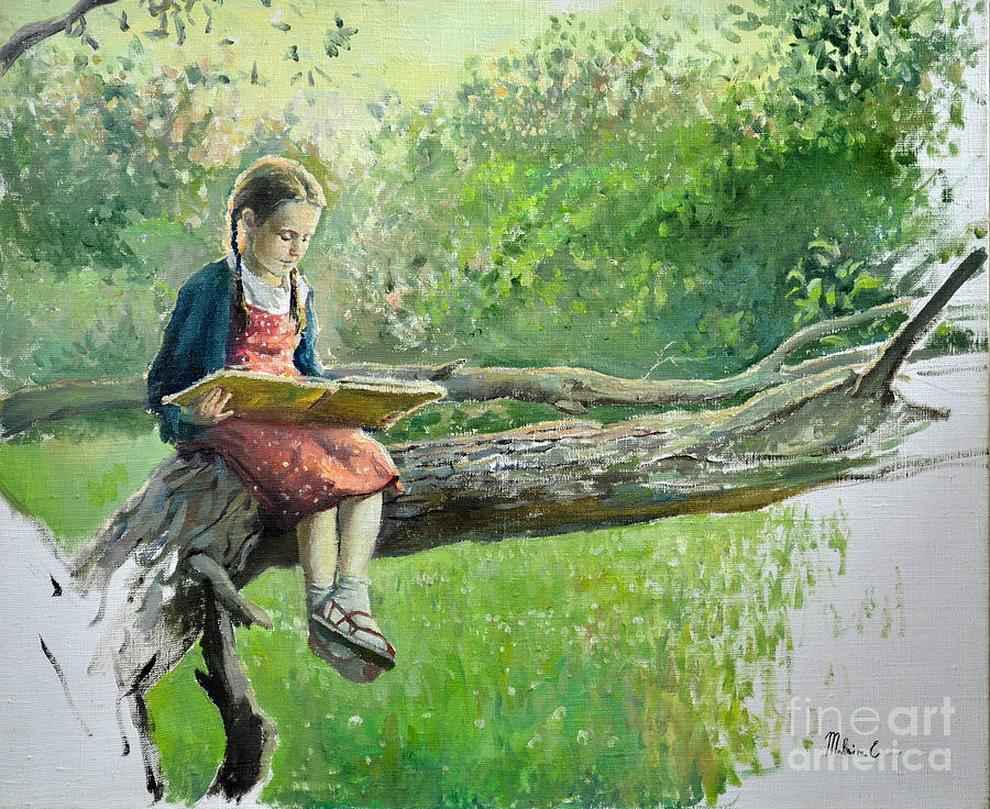 Children Painting - The Girl With Book by Eugene Maksim