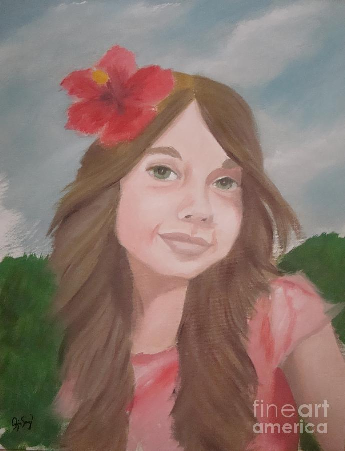 Girl Painting - The Girl With The Red Flower II by Angela Melendez