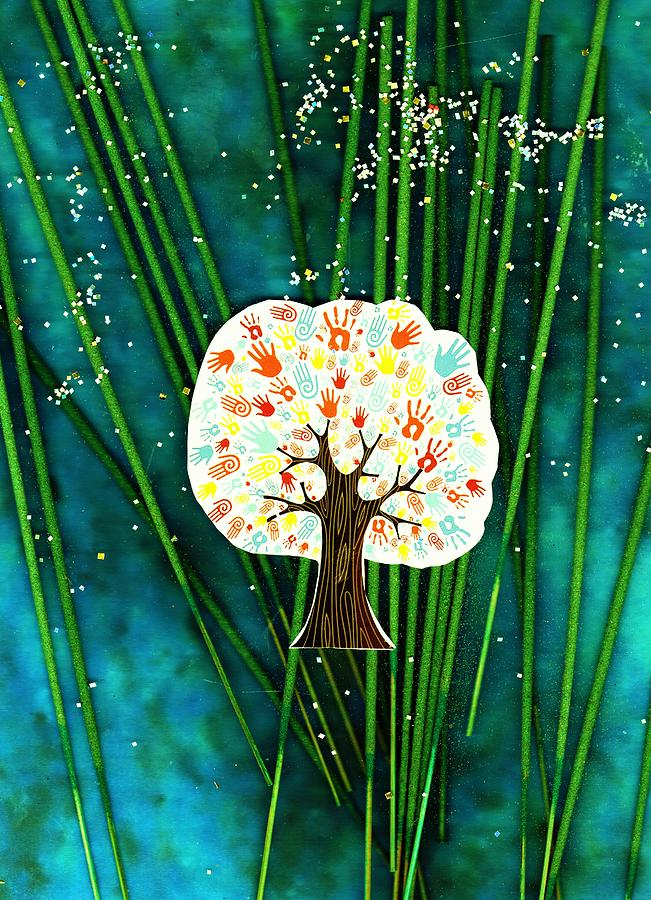 Collage Mixed Media - The Giving Tree by Anne-Elizabeth Whiteway
