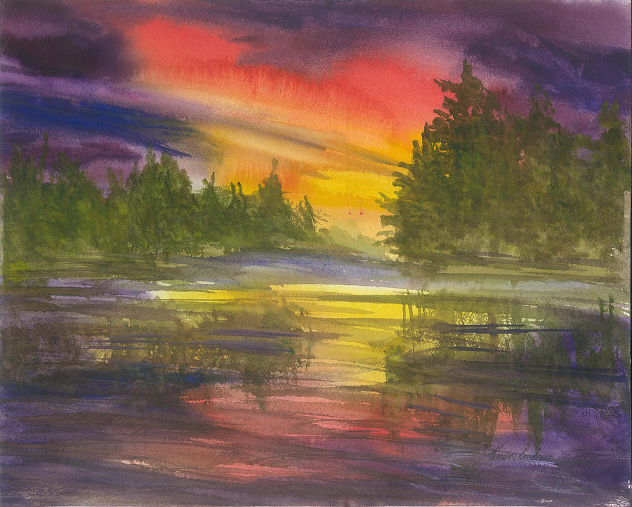 The Glow Of Maine Painting by Karen  Condron