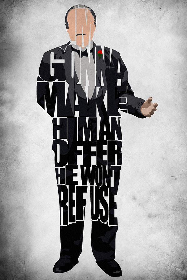 The Godfather Marlon Brando Painting - The Godfather Inspired Don Vito Corleone Typography Artwork by Ayse Deniz