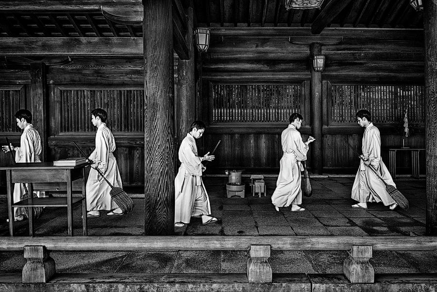 Monk Photograph - The Going And The Being Back Of A Monk In The Sweeping Of The Temple (tokio) by Joxe Inazio Kuesta