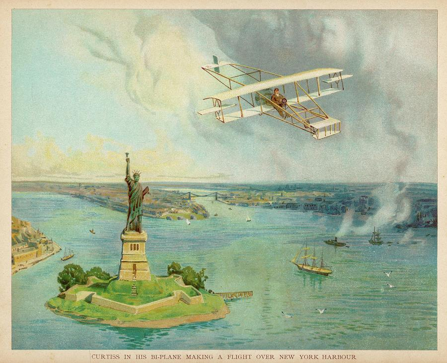 Curtiss Drawing - The gold Bug Biplane  Designed by Mary Evans Picture Library