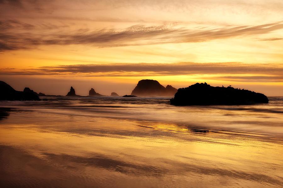Sunset Photograph - The Golden Coast by Darren  White