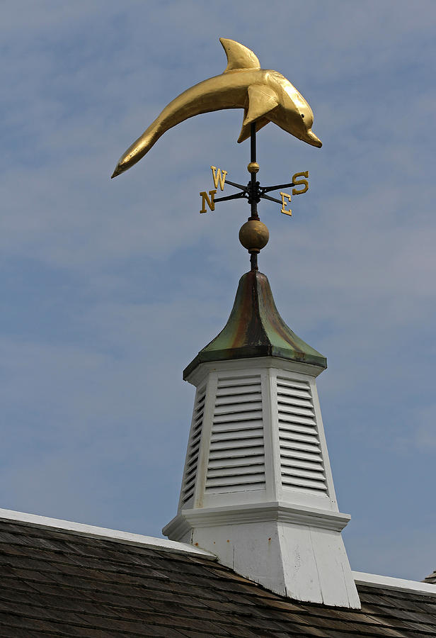 Dolphin Photograph - The Golden Dolphin Weathervane by Juergen Roth
