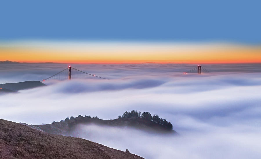 Golden Gate Photograph - The Golden Gate Bridge In The Fog by Jenny Qiu