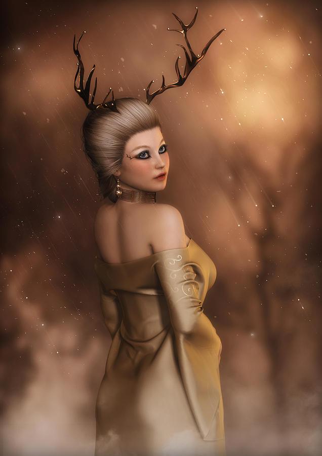 Gold Digital Art - The Golden Stag  by Rachel Dudley