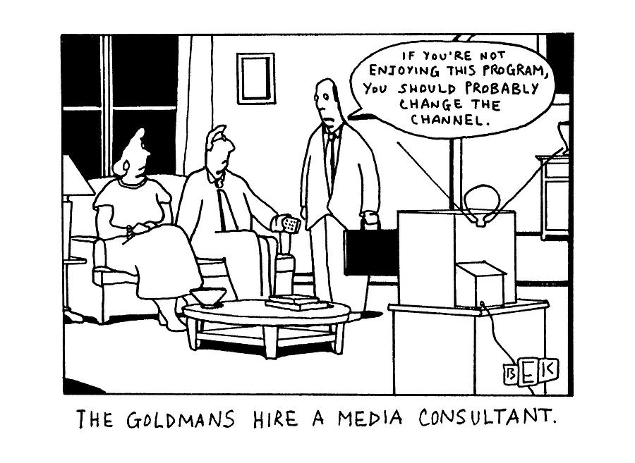The Goldmans Hire A Media Consultant Drawing by Bruce Eric Kaplan