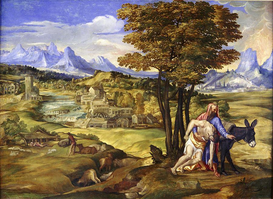 The Good Samaritan Painting By Domenico Campagnola