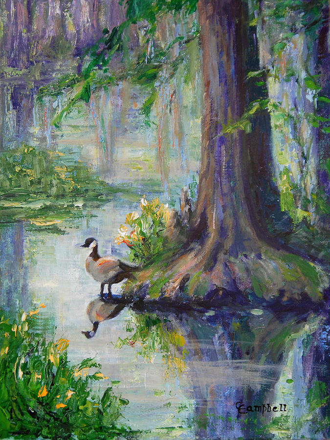 Wildlife Painting - The Goose at Swan Lake by Cecelia Campbell
