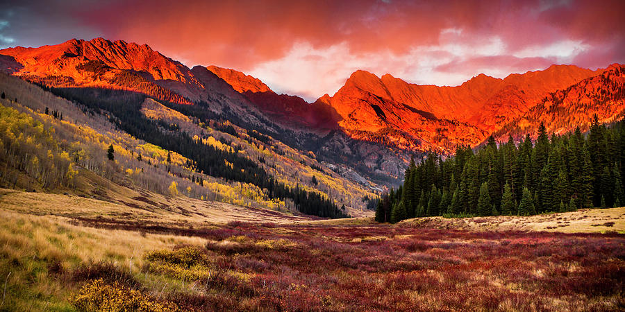 The Gore Range On Fire With The Evening Photograph by C. Fredrickson Photography