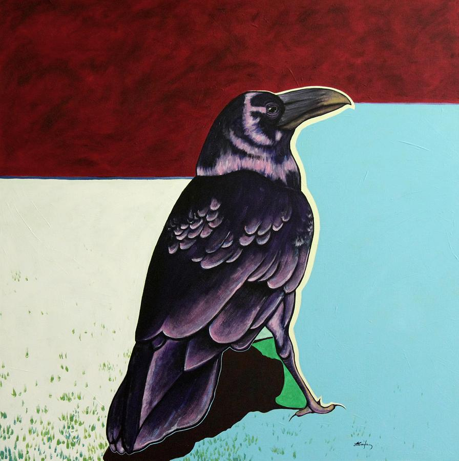 Wildlife Painting - The Gossip - Raven by Joe  Triano