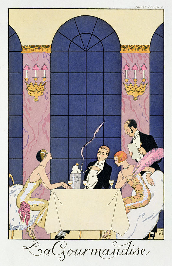 La Gourmandise Painting - The Gourmands by Georges Barbier