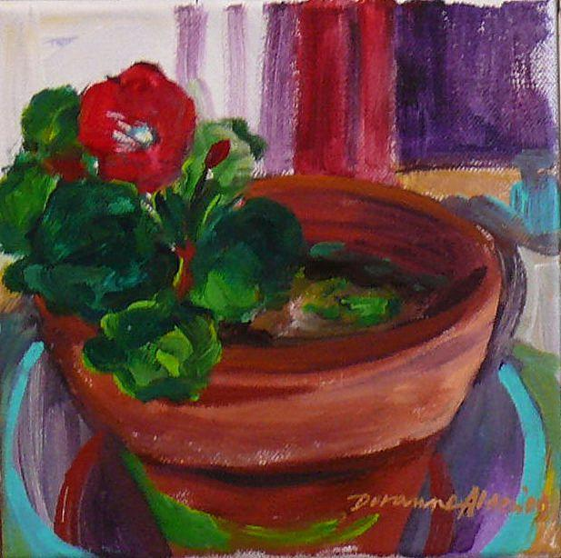 Still Life Painting - the Gozo geranium  by Doranne Alden