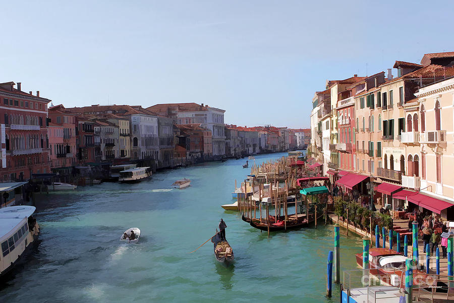 Travel Photograph - The Grand Canal Venice Oil Effect by Tom Prendergast