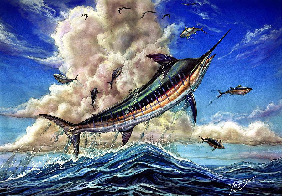 Blue Marlin Painting - The Grand Challenge  Marlin by Terry Fox