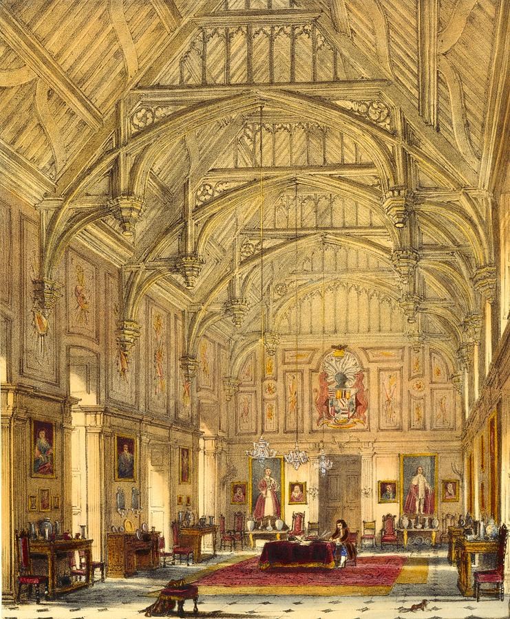 Elizabethan Drawing - The Grand Hall, Biddington, Surrey by Joseph Nash