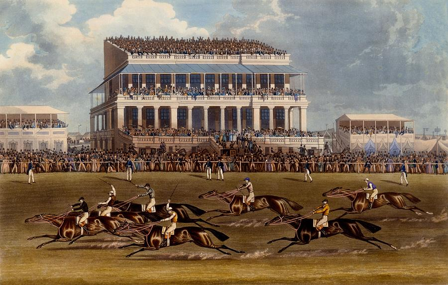 Epsom Painting - The Grand Stand At Epsom Races, Print by James Pollard