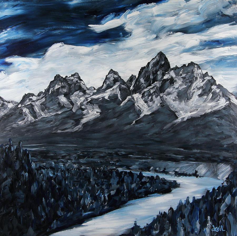 Kyle Painting - The Grand Tetons by Douglas Keil