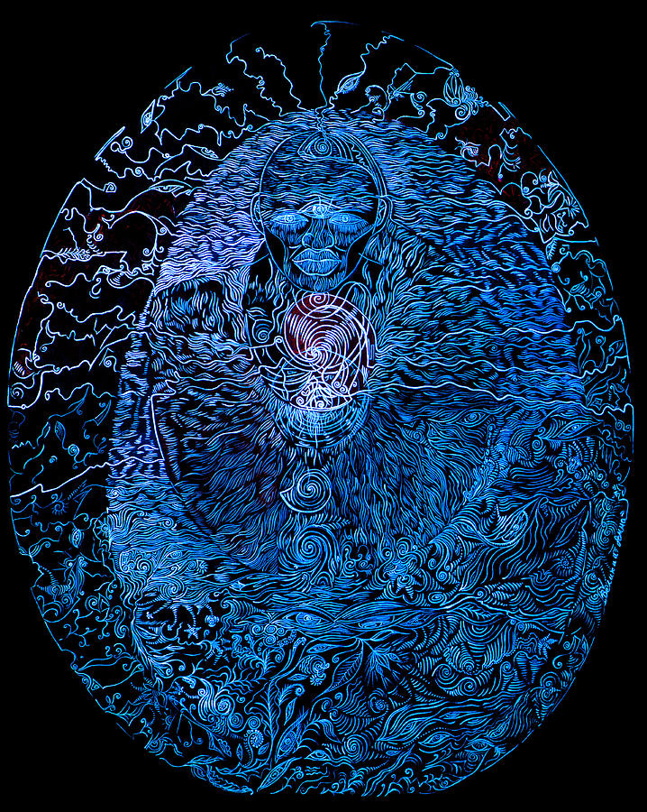 Cosmism Painting - The Great Amma In Black Light by Lola Lonli