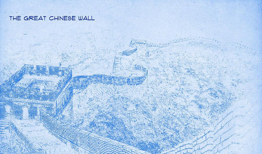 Blueprint Wall Art the great chinese wall - blueprint drawing digital art